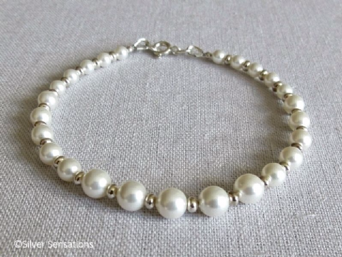 Marina - Graduated White Swarovski Pearls & Sterling Silver Beads Bridal Bracelet